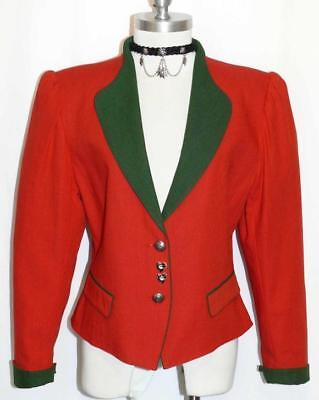 RED COTTON & LINEN JACKET Women Summer Riding Hunting German Dress Suit 10 M B40