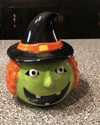 Witch Halloween Cookie Jar Candy Canister Lidded New Green Black Ceramic
