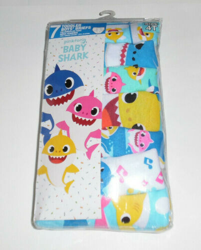 Baby Shark Pinkfong Underwear Cotton 7 Briefs Toddler Boys Size 4T Multicolor
