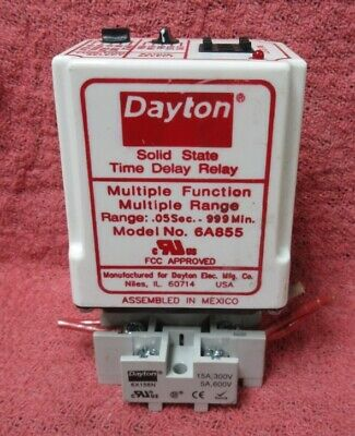 DAYTON 6A855 SOLID STATE TIME DELAY RELAY, 120 VAC, MULTI-FUNCTION, (Dayton Solid State Time Delay Relay 6a855)