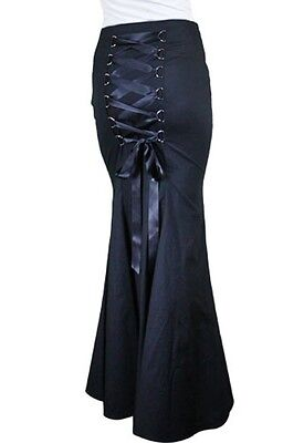 - GOTHIC LONG fishtail Black Corset Skirt Victorian Vintage witch wicca 36810