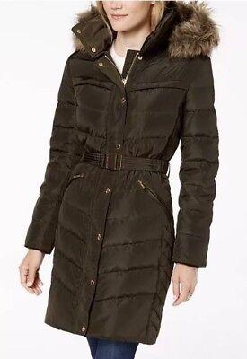 Michael Kors Jacket Coat Puffer Belted Hood Faux Fur Trim Down Dark Moss S $330 ()