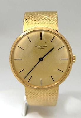 MENS VINTAGE 18K YELLOW GOLD PATEK PHILIPPE GENEVE GOLD DIAL WATCH 33mm 3468