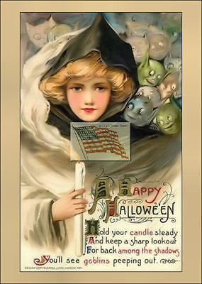 REPRINT PICTURE of old postcard HALLOWEEN hold your candle steady 5x7 - Halloween Your Pic