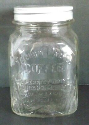 Vtg Art Deco Embossed Vacuum Pack Coffee 1# Square Clear Glass Jar Perfect Grind