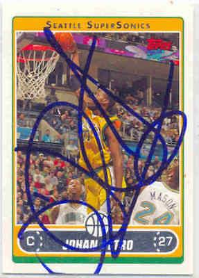 Johan Petro Sonics Signed Card Oklahoma City Thunder Nuggets Atlanta Hawks Nets