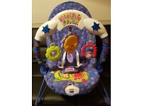 Fisher price bouncer, free scooter and Moses basket with bundle of baby boy's clothes