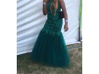 Beaded Lace Mermaid Prom Dress in Emerald Green