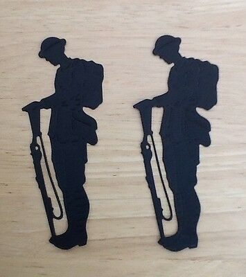 Die Cut Silhouette Soldiers Card Toppers  Shapes  Card Making Candle Jars