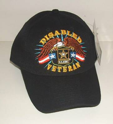 US Army Disabled Veteran 3D Embroidered Licensed Military Black Ball Cap/Hat.