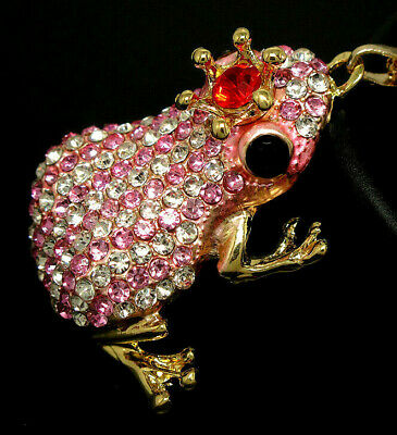 DAZZLING Royal Queen FROG Prince CROWN Rhinestone Striped Retro Necklace Pink