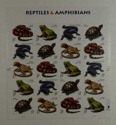 US SCOTT 3814 - 18 PANE OF 20 REPTILES & AMPHIBIANS STAMPS 37 CENT MNH