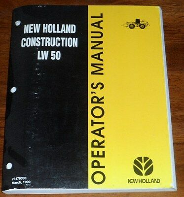 New Holland Construction Lw50 Wheel Loader Operators Manual