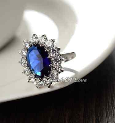 Beautiful Royal Silver Blue Sapphire Cubic Zirconia White Gold GP (Blue Sapphire Cubic Zirconia Ring)