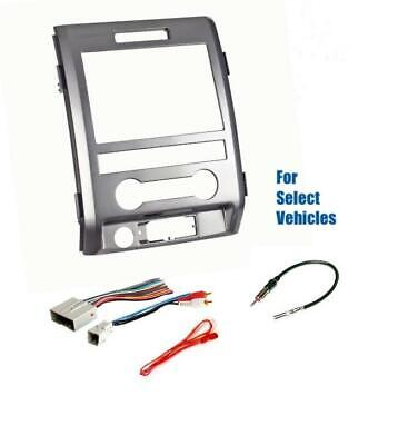 Silver  Dbl Din Car Stereo Radio Install Dash Kit Combo for some 09-14 Ford F150 Dbl Din Radio