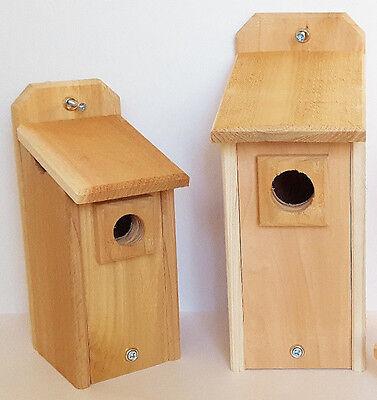 Bluebird House and Chickadee House Hand Made Natural Cedar