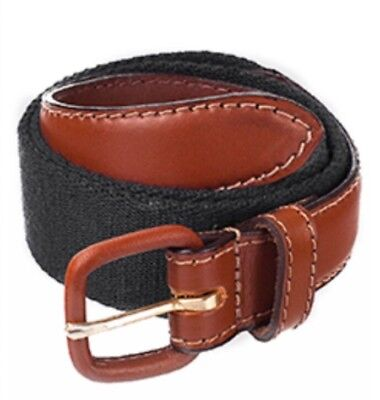 American Apparel Black Solid Web Belt Brown Leather Buckle XXS 2XS 24