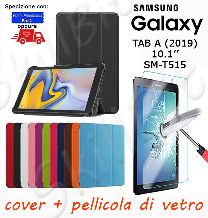 CUSTODIA COVER STAND PELLE PER SAMSUNG GALAXY TABLET TAB A 2019 SM-T515 10.1+VET