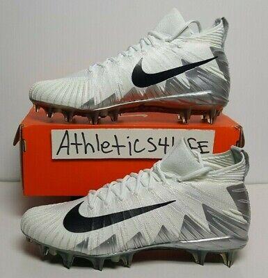 NIKE ALPHA MENACE ELITE FOOTBALL CLEATS SIZE 13 WHITE BLACK SILVER 877140-100