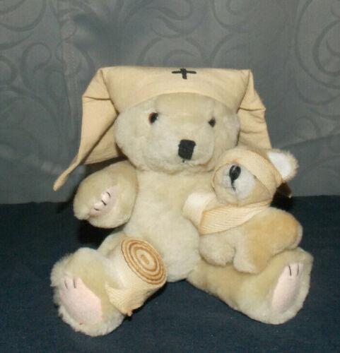 "UNIQUE HANDMADE VINTAGE""NURSE TEDDY BEAR & SICK BABY BEAR""PLUSH/JOINTED BEAR!"
