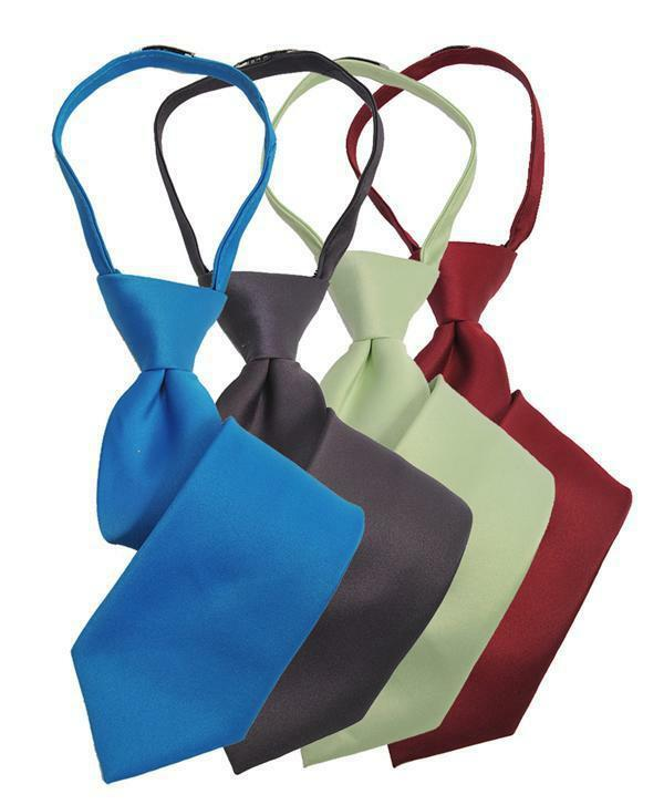 6 Pack Boy's Poly Solid Satin Zipper Ties (bsz1000-6pk)