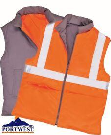 NEW Portwest Reversible Hi-Vis Body Warmer Size M