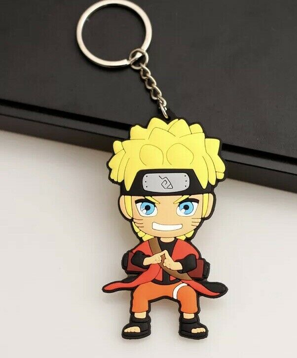 "Naruto Jutsu Keychain Rubber Double Sided 2.5"" Anime US Seller"