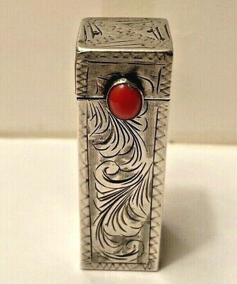 Vintage 1950's Made In Italy Silver And Coral Engraved Lipstick Holder As Found!