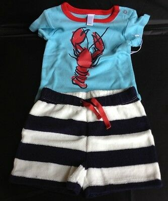 New Nordstrom Baby Boy Maine Lobster Navy Sailor Shorts Infant Outfit 3-18 - Baby Lobster