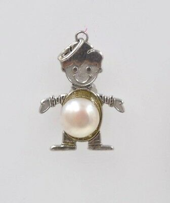 New 14 kt white gold Birthstone Boy Kids Child Charm Pendant with pearl Birthstone Bead Boy Pendant