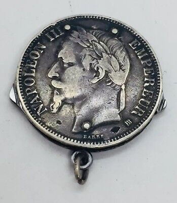 Antique French Coin Sterling Silver Pocket Knife Pendant