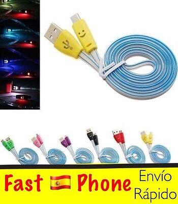 Cable luminoso micro USB LED-SMILEY. Samsung, Nokia, LG, Sony.
