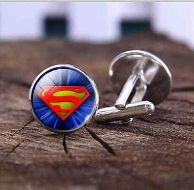 Silver Superhero Novelty Wedding Party Gift Prom Shirt Cufflinks Superman (Superhero Wedding)