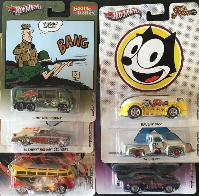 1/64 Hot Wheels Pop Culture Set Popeye Hagar Felix Phantom Flash Gordon set of 6