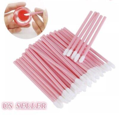 (50 PINK Disposable Lip Brush set gloss lipstick wands applicator makeup tool )