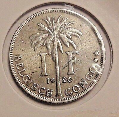 1 Frank 1 Franc  1926 Belgisch CONGO  - Rare Exotic African Coin KM# 21 Belge