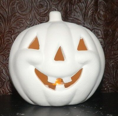 """Ceramic Bisque Halloween Carved Pumpkin * Ready to Paint Pottery * 4"""" Tall"""