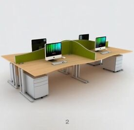 POD OF FOUR WAVE OFFICE DESKS. POD OF FOUR. FREE FAST DELIVERY