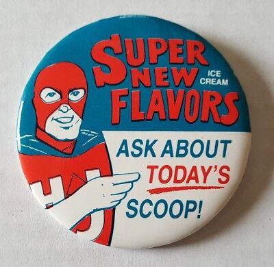 (Howard Johnson's Restaurant Super New Ice Cream Flavors Pinback Lake Placid NY  )