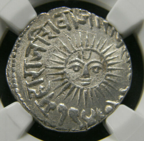 India Indore 1890 Sun Face Silver Rupee NGC MS 63