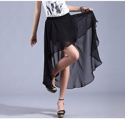 Sexy Black  Asym Hem Chiffon Skirt Ladies Long Maxi Dress Elastic Waistband on Rummage