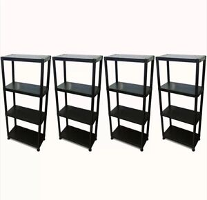 4 tier x 4 black racking shelving shelves plastic rack. Black Bedroom Furniture Sets. Home Design Ideas
