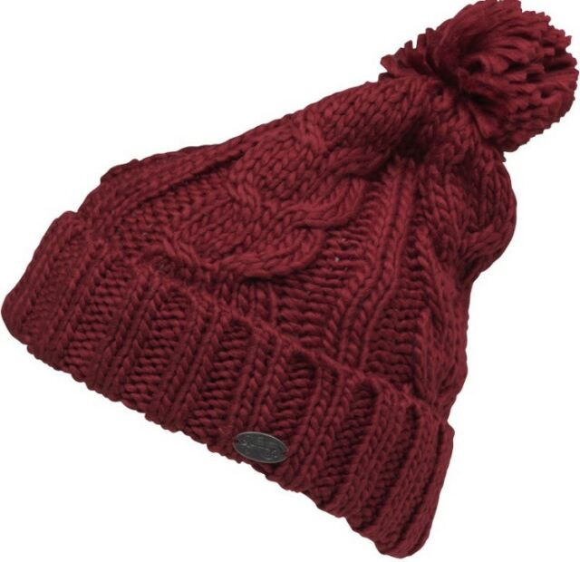 Fashion Firetrap Cable Knit Bobble Hat Womens Purple Fuchsia Online Shopping