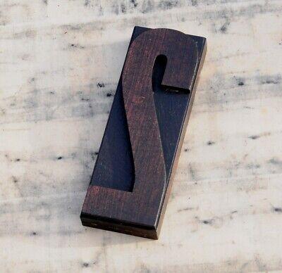 Huge Number 2 Rare Wood Type Letterpress Printing Block Woodtype Font Antique