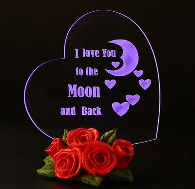 Mothers Day Gift I Love You To The Moon And Back Heart Led Light Birthday Gift