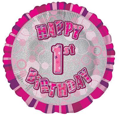 1. Geburtstag Folienballon Pink Aufschrift HAPPY BIRTHDAY Zahl 1 Ballon 46cm Ø ()