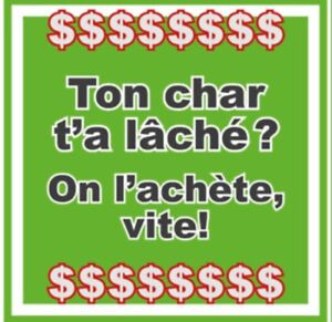 ScrapTonChar $$$ Recyclage d'auto Payons Cash!!! 514 979-9792