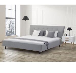 Elegant Grey Fabric Bed - King Size BRAND NEW IN BOX
