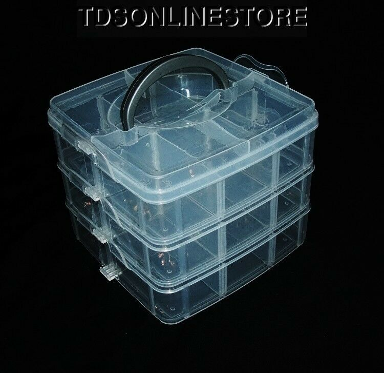 3 Tier 18 Compartment Stackable Organizer W/Adjustable Dividers