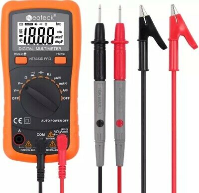 Neoteck Digital Multimeter Voltmeter Automanual Range Ac Dc Volt Current Tester